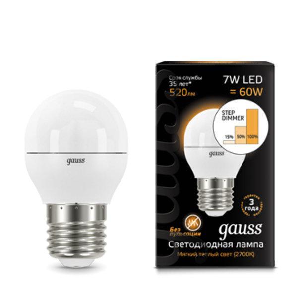 Светодиодная лампа Gauss Step dimmable P45 7Вт 2700K E27 180-240В