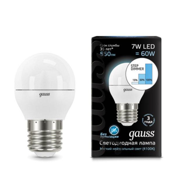 Светодиодная лампа Gauss Step dimmable P45 7Вт 4100K E27 180-240В