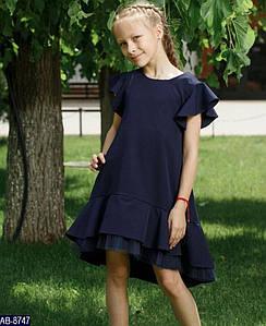 Платье школьное для девочки с фатином 34, 36, 38, 40, 42 мод 150 ткань: хлопок,полиестер