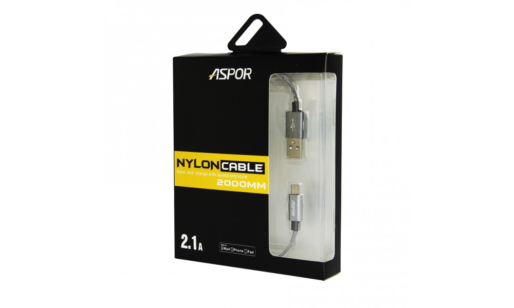 USB кабель Aspor- A127 micro 2.1A/ 2м- чёрный
