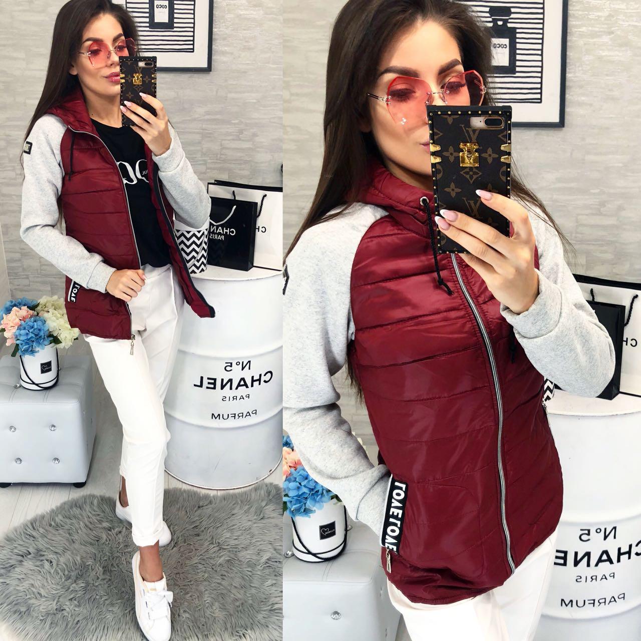Куртка женская демисезон 2018, модель 768/1, цвет - бордо, 42 размер