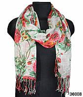 Цветочный белый льняной шарф, фото 1