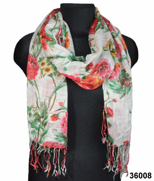 Цветочный белый льняной шарф фото 1