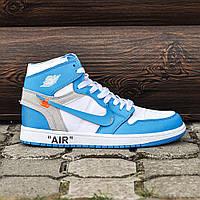 Мужские кроссовки Nike Air Jordan Off-White Blue, Реплика ААА+, фото 1