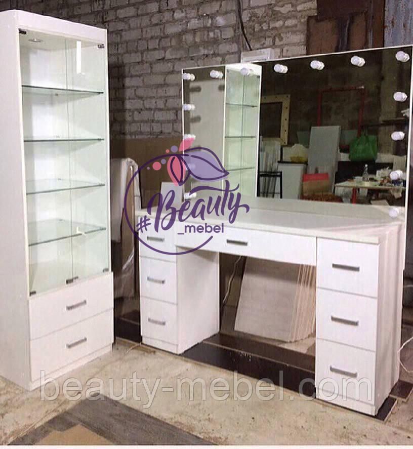 Гримерный стол с большим зеркалом без рамы, зеркало с лампами