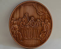 """Икона из дерева с резьбой """"Тайный ужин (тайная вечеря)"""" (270х295х18), фото 1"""