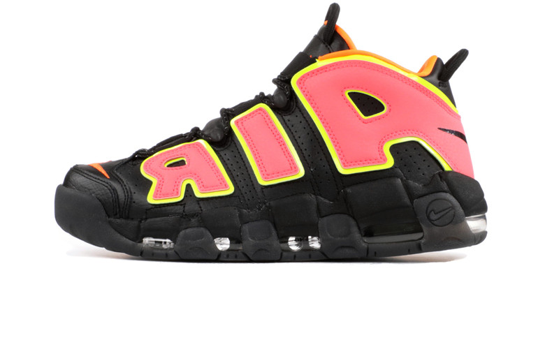 Мужские кроссовки Nike Air More Uptempo Black/Orange/Hot Punch-Volt