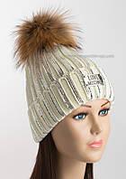 Теплая вязаная шапочка белая с логотипом Moschino и серебряным напылением