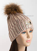 Зимняя женская шапка пудровая с логотипом Moschino и золотым напылением