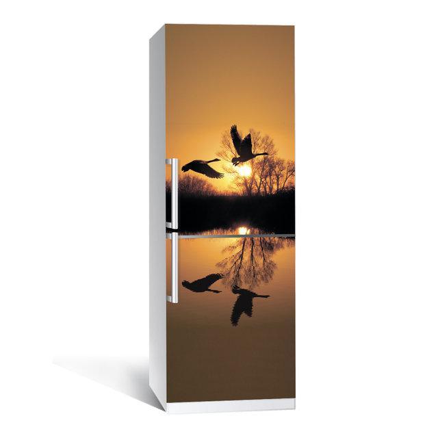 Виниловая наклейка на холодильник Журавли ламинированная двойная (пленка самоклеющаяся фотопечать)