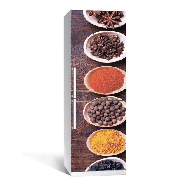 Виниловая наклейка на холодильник Специи ламинированная двойная (самоклеющаяся пленка фотопечать)