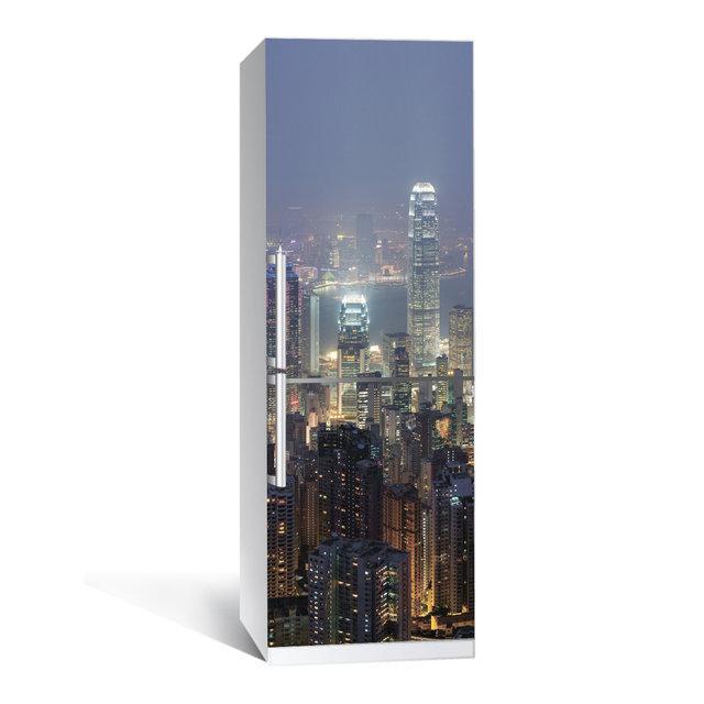 Виниловая наклейка на холодильник Ночной город ламинированная двойная (пленка самоклеющаяся)