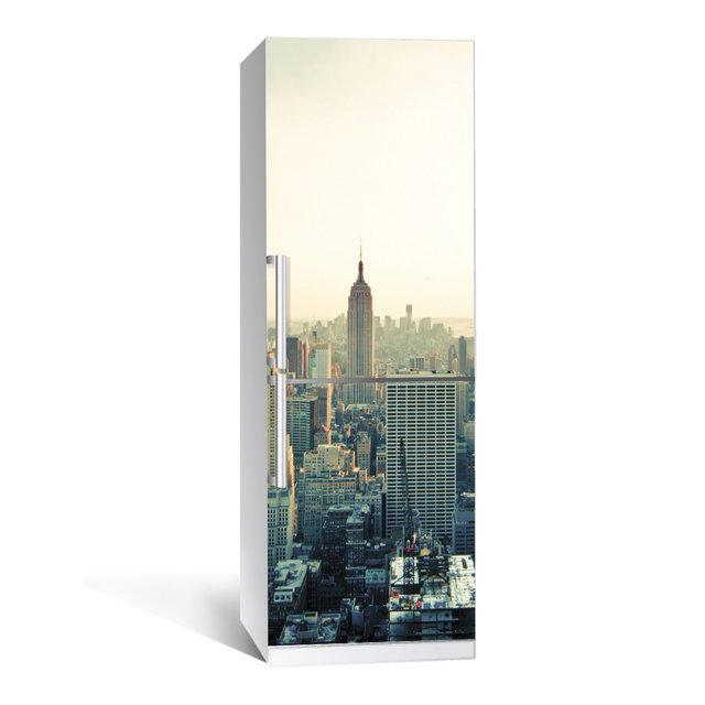 Виниловая наклейка на холодильник Город ламинированная двойная (пленка самоклеющаяся фотопечать)