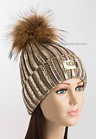 Модная вязаная шапочка Ugg темно-бежевая с золотым напылением
