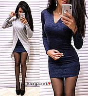 Стильный тёплый комплект платье+туника, фото 1