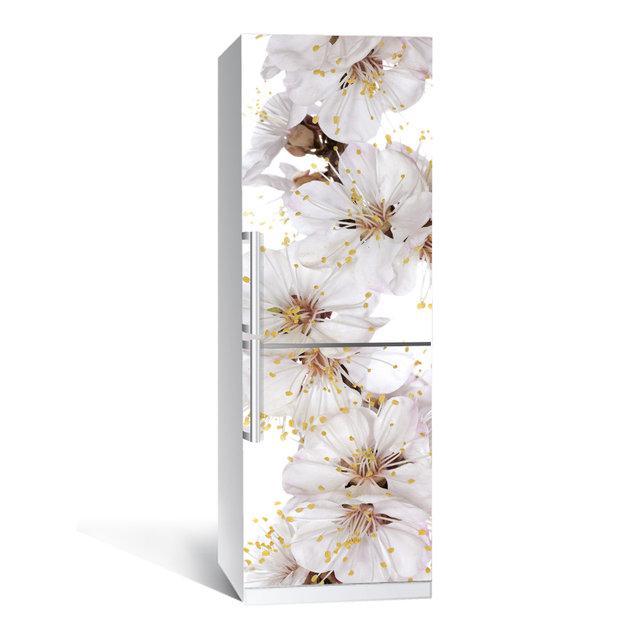 Виниловая наклейка на холодильник Цветы вишни ламинированная двойная (пленка самоклеющаяся фотопечать)