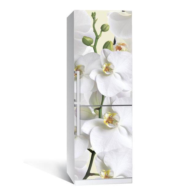 Виниловая наклейка на холодильник Орхидея ламинированная двойная (пленка самоклеющаяся фотопечать)
