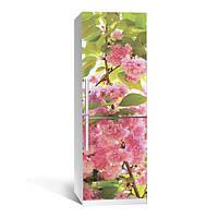 Вінілова наклейка на холодильник Цвітіння 01 ламінована подвійна плівка самоклеюча фотодрук