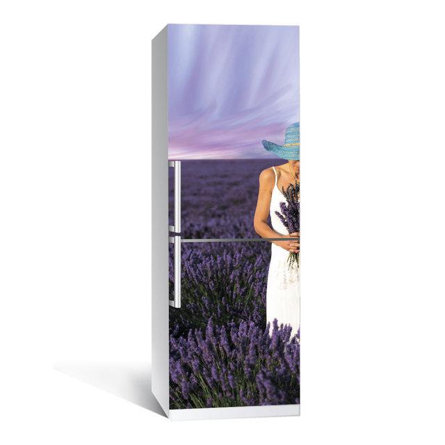 Акция ВЕСНА! Виниловая наклейка на холодильник Лаванда ламинированная двойная (самоклеющаяся пленка фотопечать)