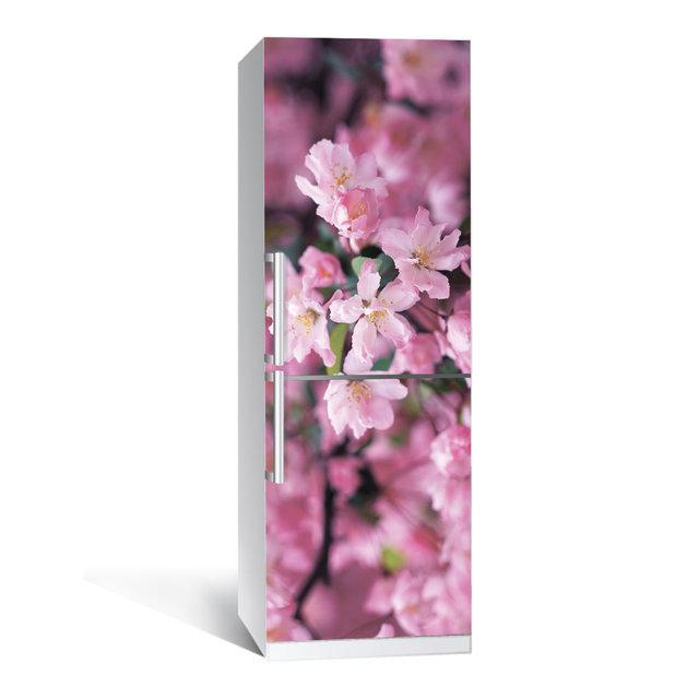 Виниловая наклейка на холодильник Цветение 02 ламинированная двойная (пленка фотопечать)