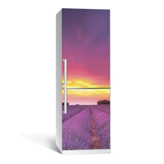 Виниловая наклейка на холодильник Лаванда 01 ламинированная двойная самоклеющаяся пленка