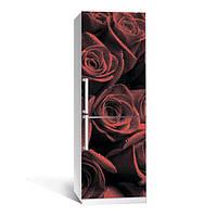 Вінілова наклейка на холодильник Червоні троянди ламінована подвійна плівка самоклеюча фотодрук