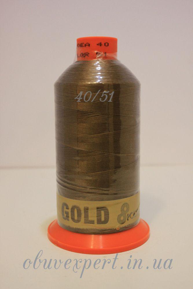 Швейная нить Gold Polydea 40 № 51, цв. светло-коричневый