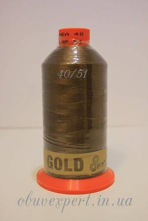 Швейная нить Gold Polydea 40 № 51, цв. светло-коричневый, фото 2
