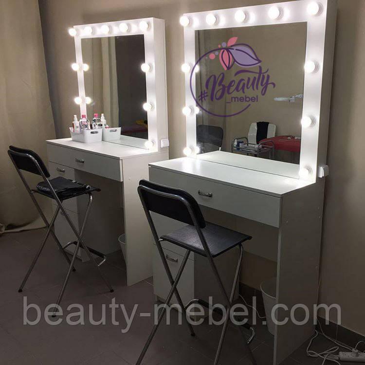 Гримерный стол с широким ящиком под столешницей, столик для макияжа с зеркалом и лампами