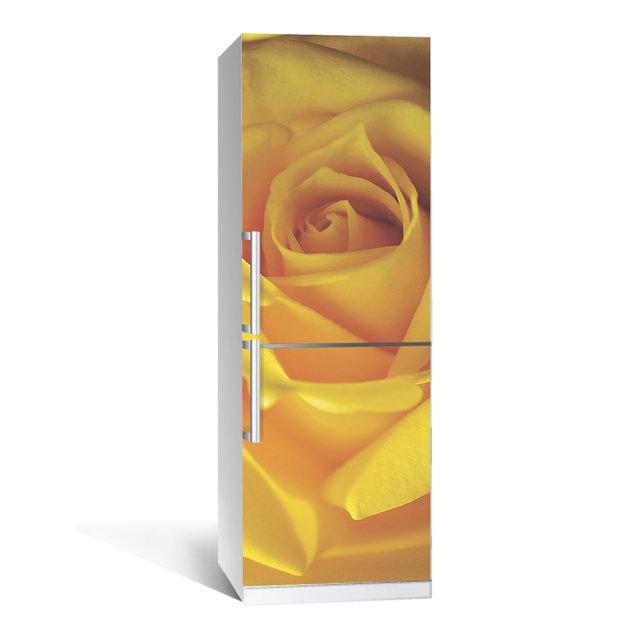 Акция ВЕСНА! Виниловая наклейка на холодильник Роза ламинированная двойная (самоклеющаяся пленка фотопечать)