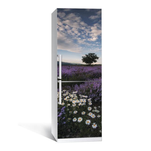 Акция ВЕСНА! Виниловая наклейка на холодильник Лаванда 02 ламинированная двойная (самоклеющаяся пленка фотопечать)