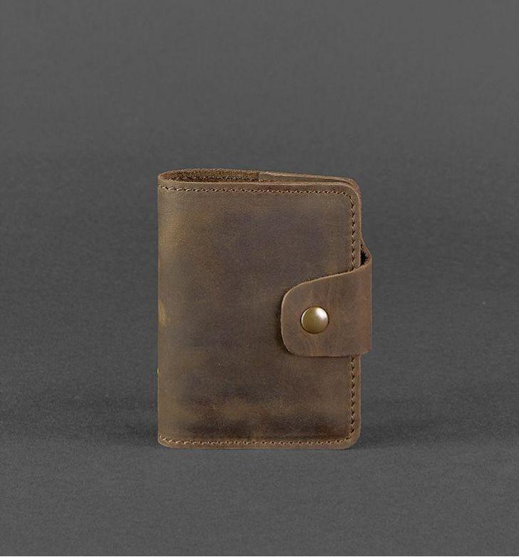 Візитниця, кардхолдер шкіряний на кнопці коричневий (ручна робота)