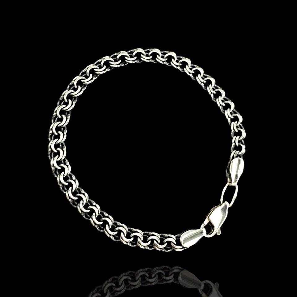 Срібний чоловічий браслет, 220мм, 18 грам, плетіння Бісмарк