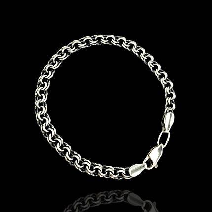 Срібний чоловічий браслет, 220мм, 18 грам, плетіння Бісмарк, фото 2