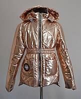 Куртка на девочку детская демисезонная бронзовая, фото 1