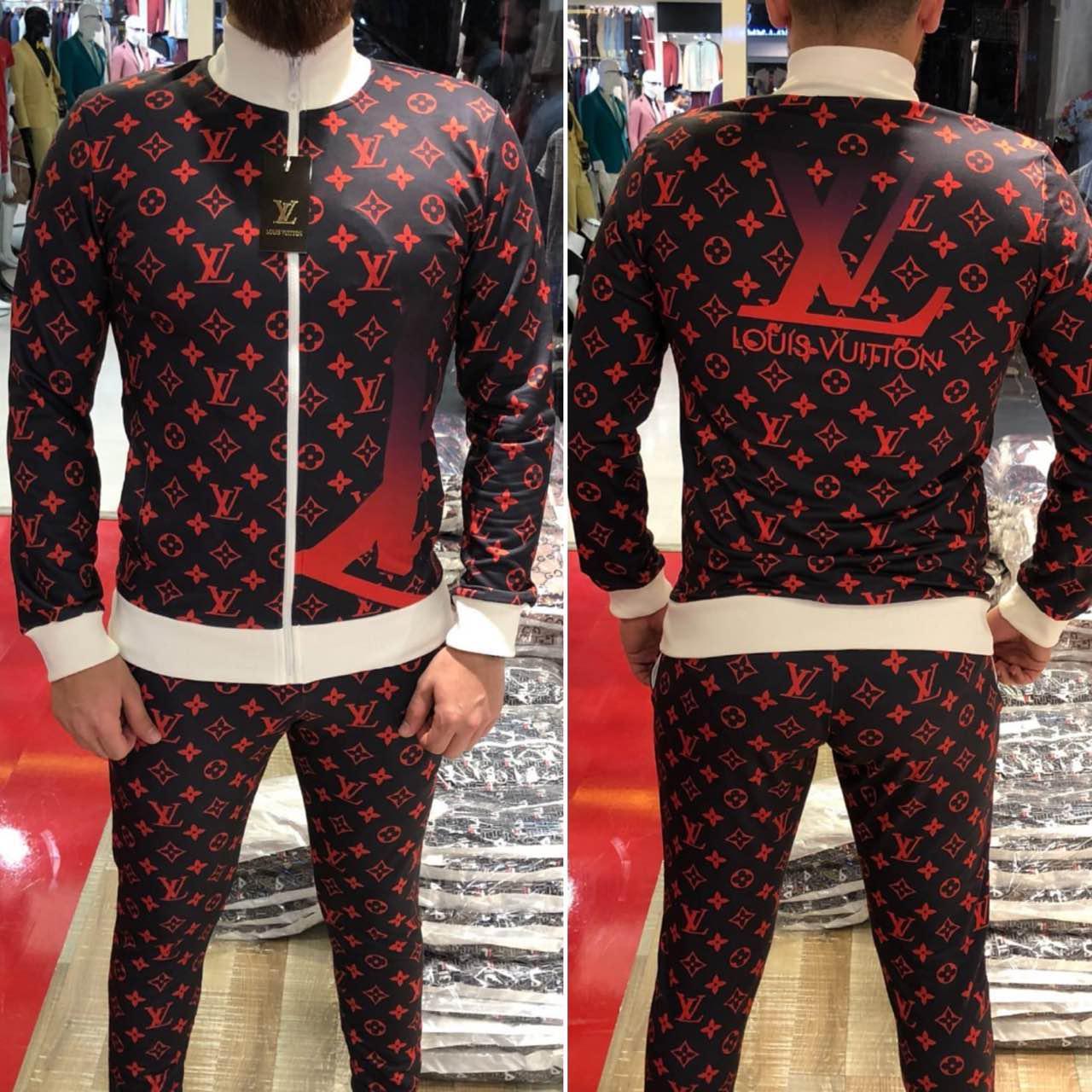 Спортивный костюм мужской Louis Vuitton D3932 красно-черный - купить ... 7c3ed5e2015