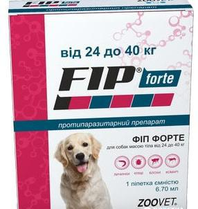ФИП ФОРТЕ  FIP FORTE капли от блох, клещей, вшей и комаров для собак весом 24-40 кг, 1 пипетка