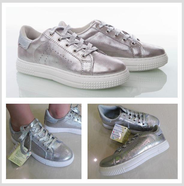 Копия Туфли - кроссовки для девочек, серебро,  р. 32, 33