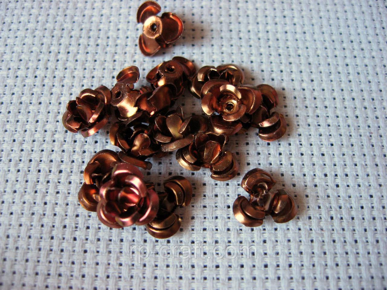 Копия Роза алюминиевая. Коричневая, 10 мм