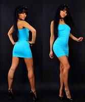Мини платье-туника резинка бирюза Greenice, размеры 42 - 50. Оптом и в розницу.