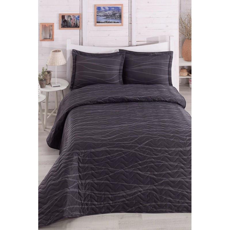 Покрывало стеганное с наволочками Eponj Home - Verda gri серый 200*220 см