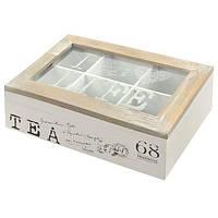 """Коробка для хранения чая """"Tea"""" R22176 шесть отделений, 23*15.7*7.5см, МДФ, белый, кухонный инвентарь, коробочка для чая"""
