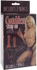 Набор из двух страпонов с трусиками Crotchless Strap-On Harness, фото 3