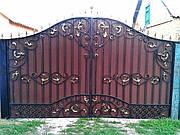 Ворота распашные из профнастила с калиткой 3000*2000 и 1000*2000 без столбов