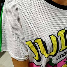 Футболка с принтом Красивая Прикольная в сеточку 2020 футболка длинная молодёжная яркая накидка, фото 2