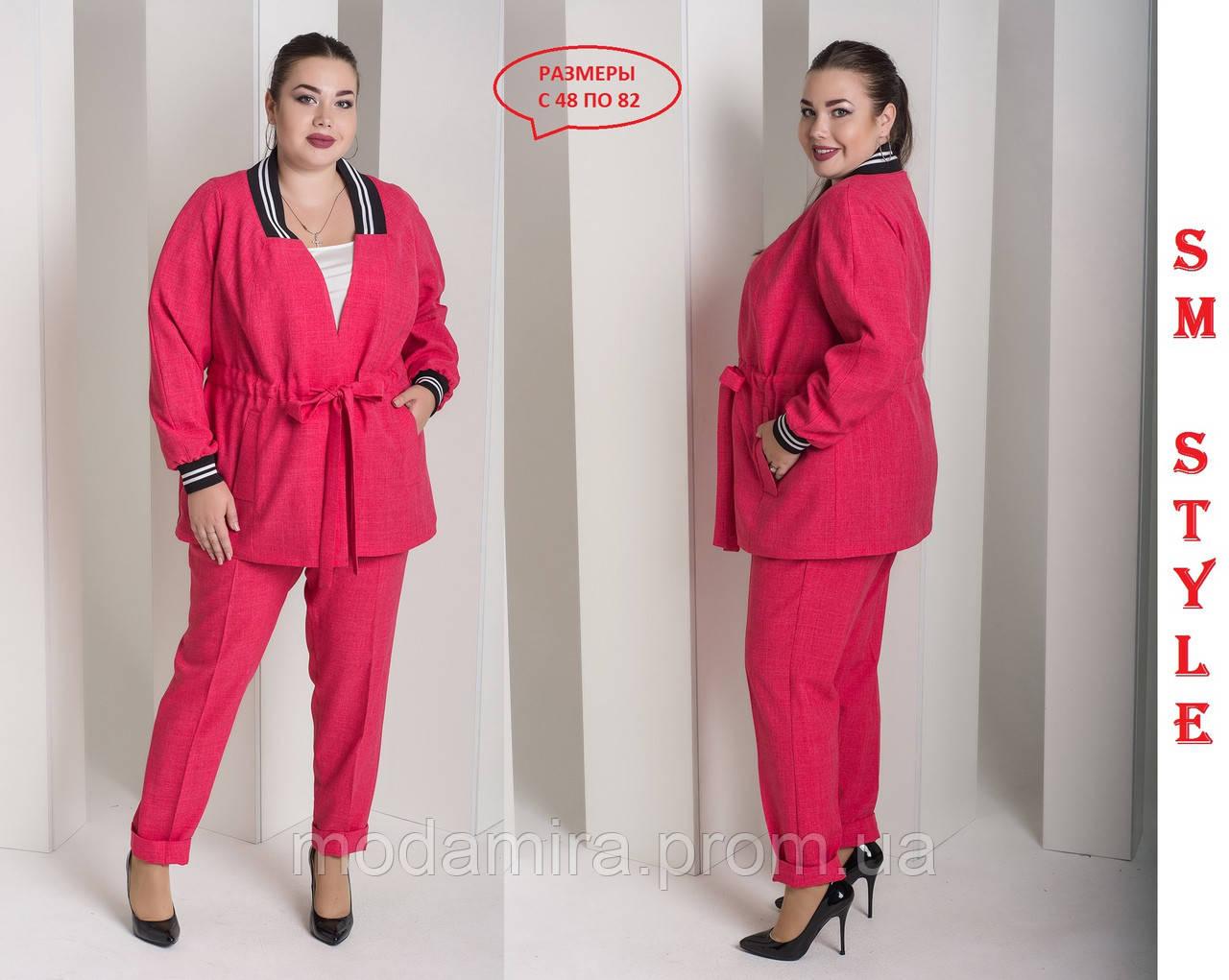 b8e2797b80d2878 Женский брючный костюм из лена, двойка, отшив очень больших размеров брюки+  жакет.