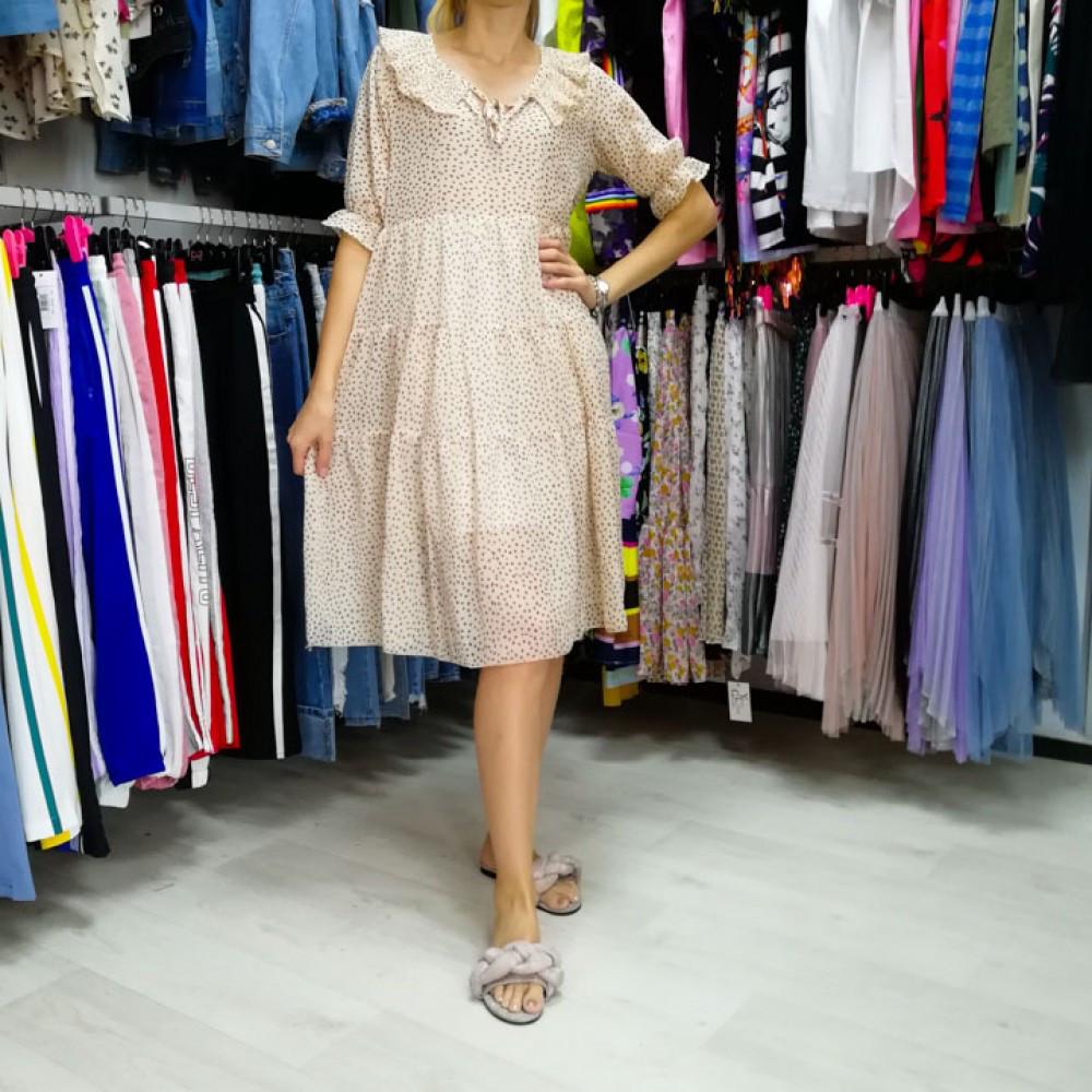 Платье в горошек с воротником -535-90077