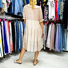 Платье в горошек с воротником -535-90077, фото 2
