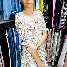 Платье в горошек с воротником -535-90077, фото 3