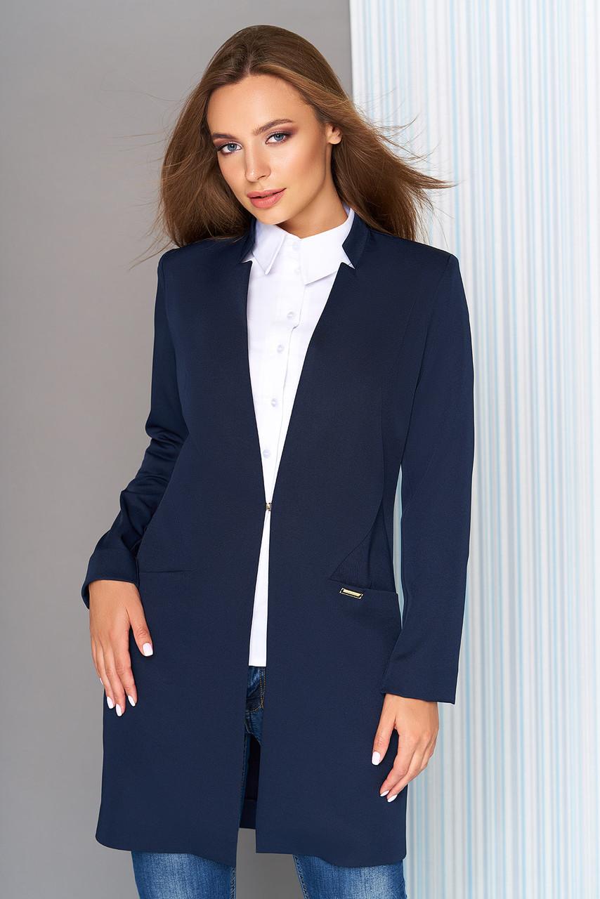 Пиджак удлиненный с воротником-стойкой синий